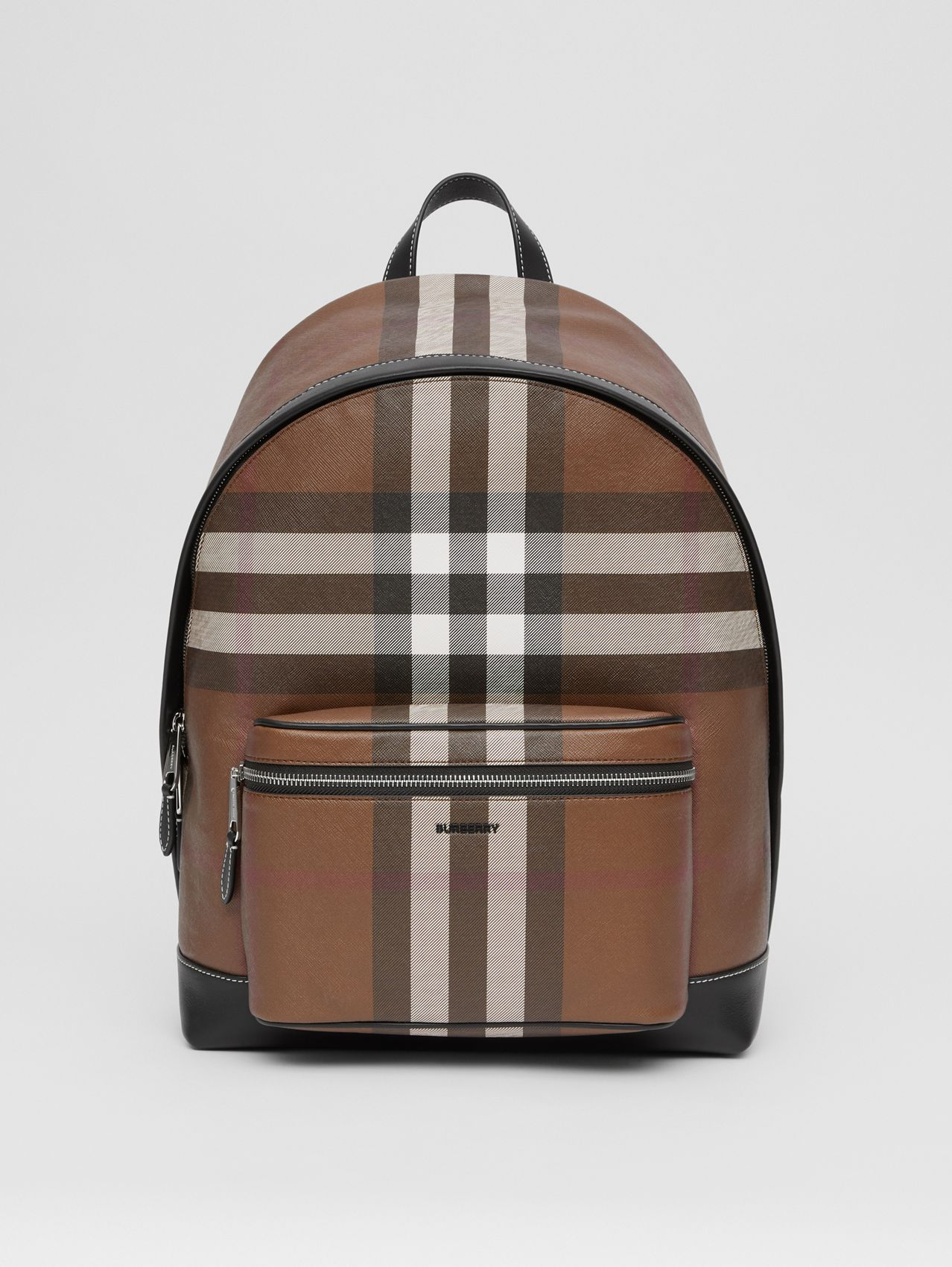 Zaino in e-canvas con motivo tartan (Marrone Betulla Scuro)