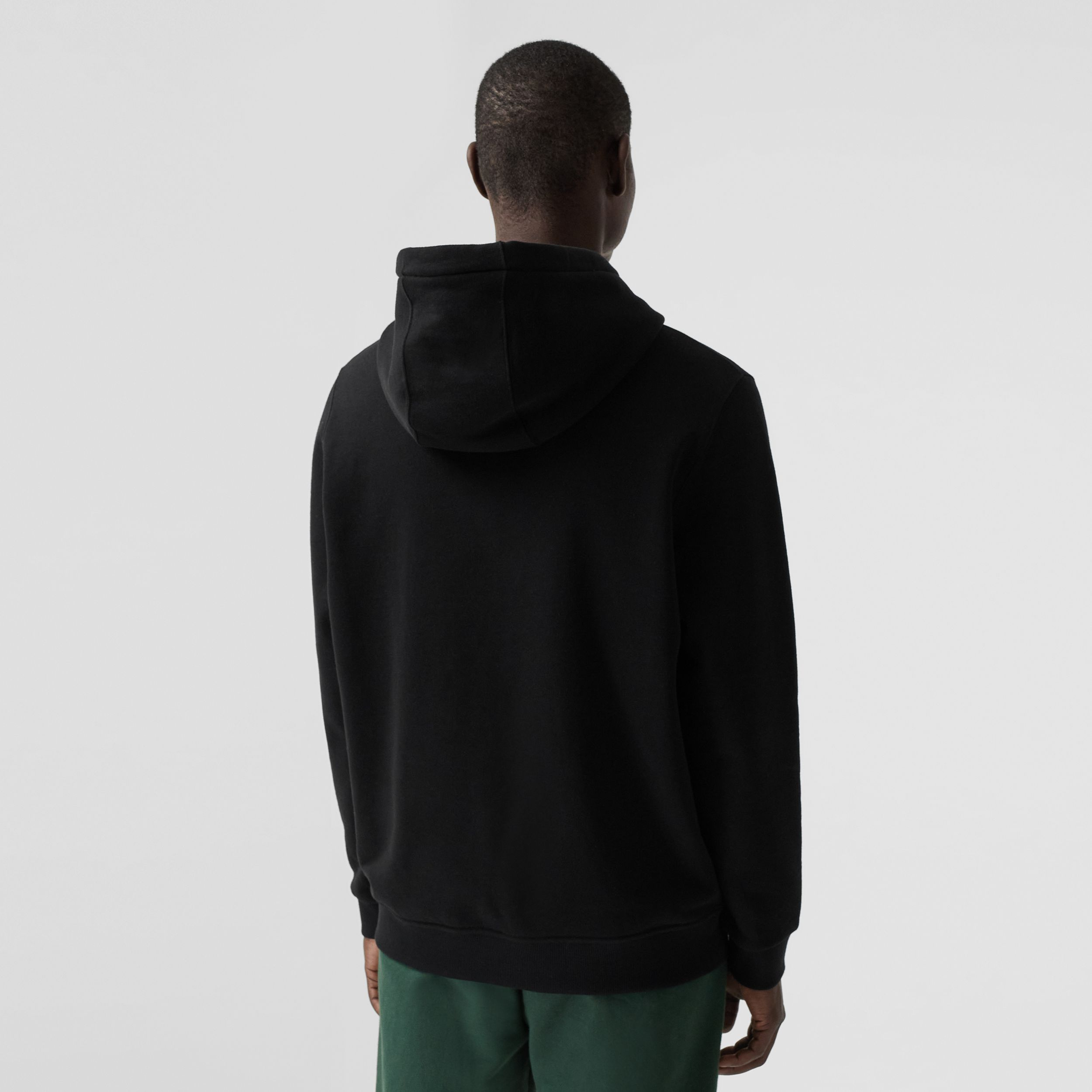 Embroidered Globe Graphic Cotton Hoodie in Black - Men | Burberry Australia - 3