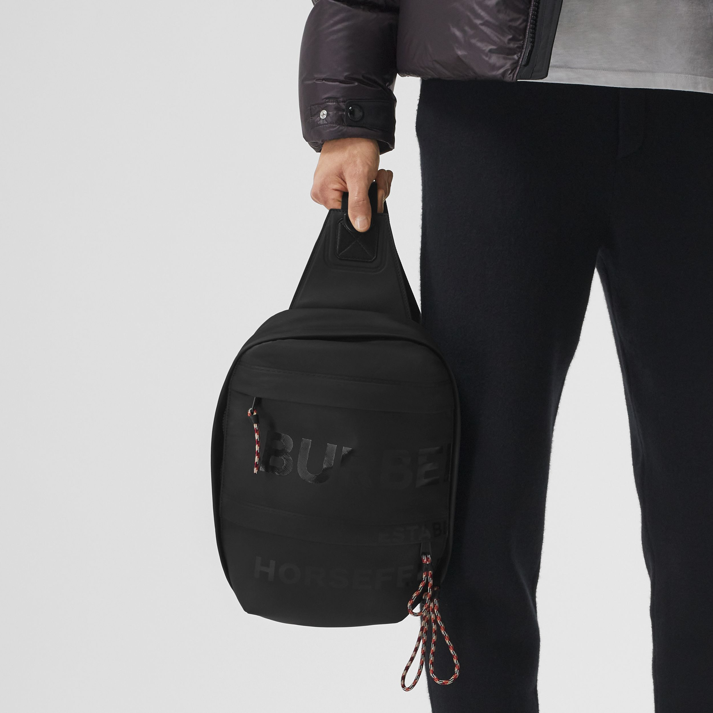 Horseferry Print Coated Canvas Backpack in Black - Men | Burberry - 4