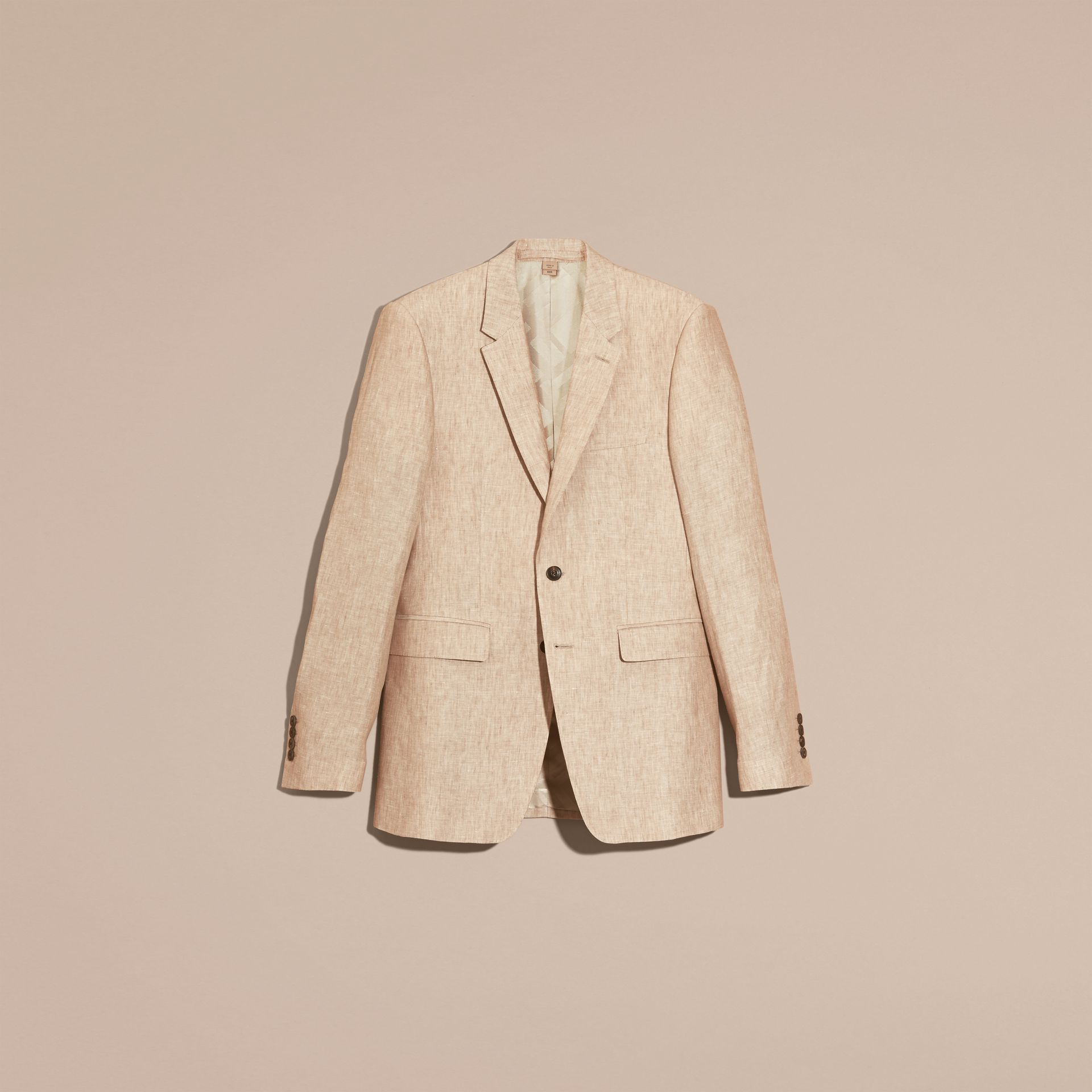 Pale stone Modern Fit Linen Jacket - gallery image 3