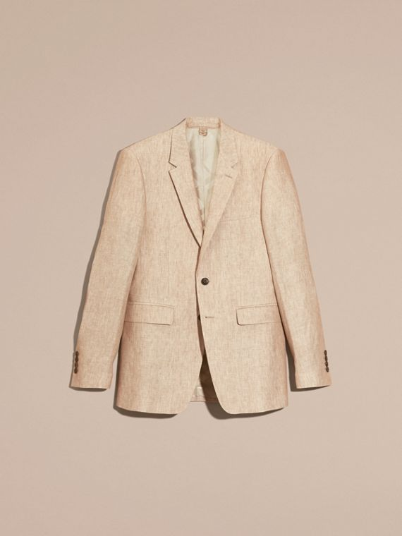 Pale stone Modern Fit Linen Jacket - cell image 2