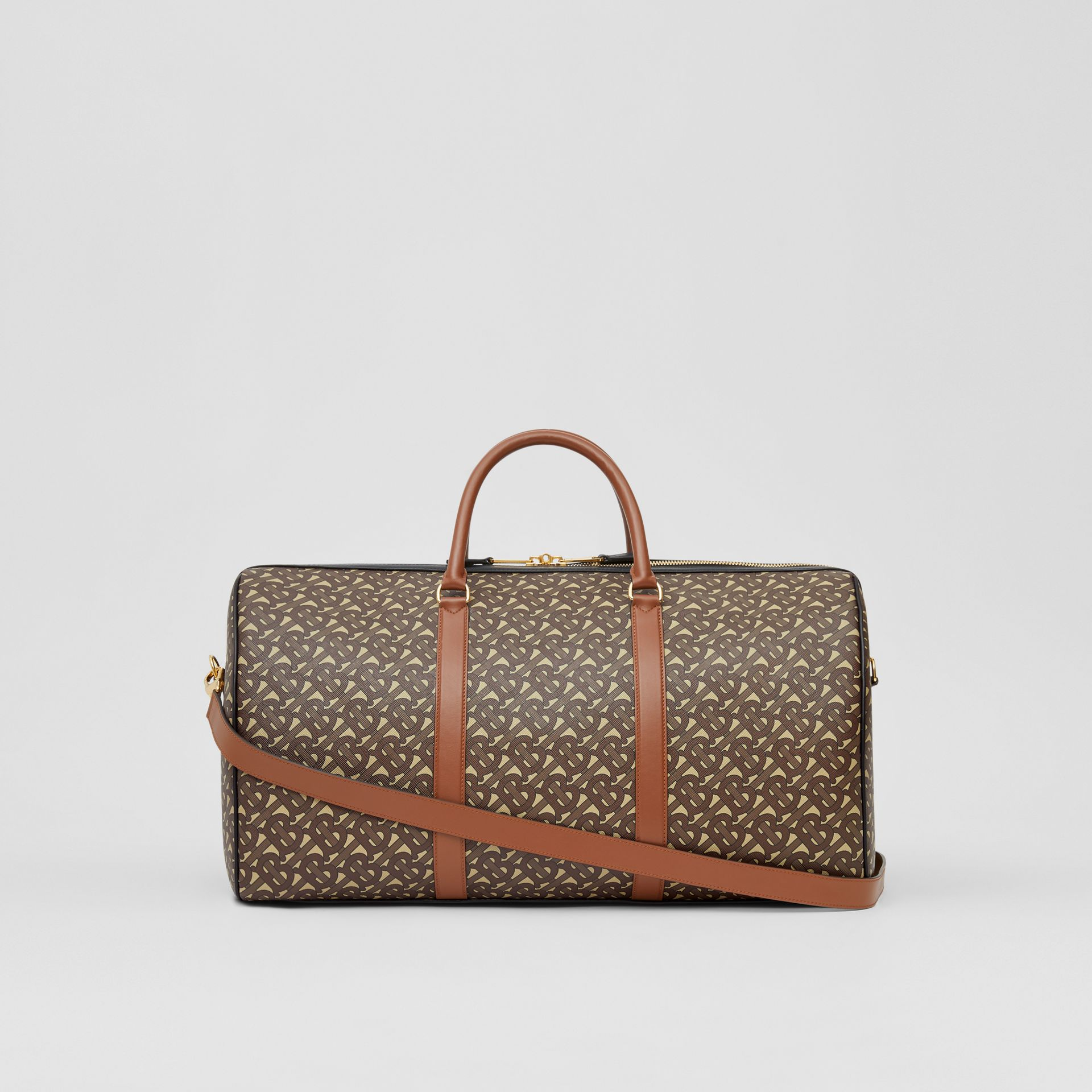 Monogram Print E-canvas and Leather Holdall in Bridle Brown - Men | Burberry - gallery image 7