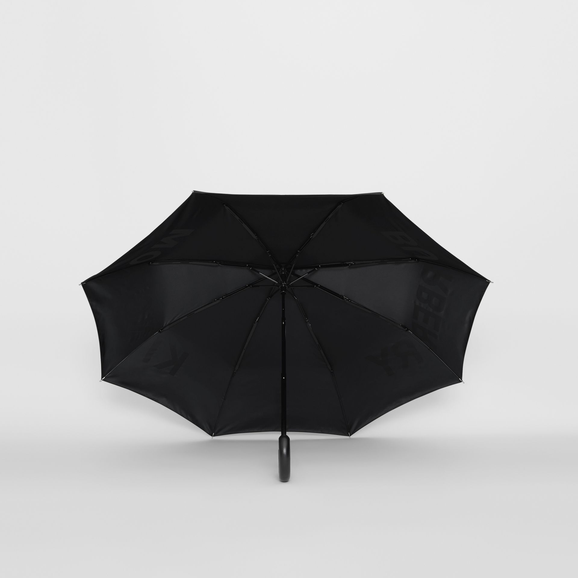 Kingdom Print Folding Umbrella in Black | Burberry - gallery image 2