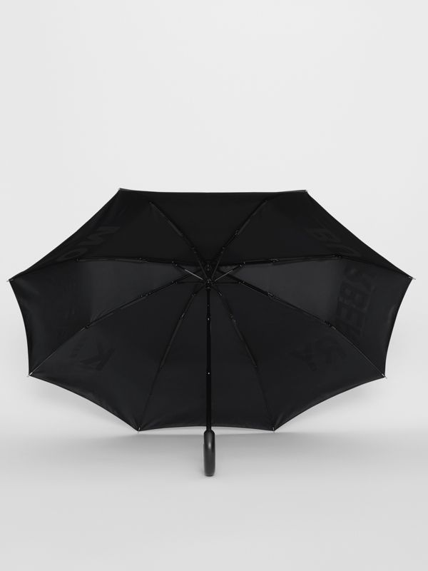 Kingdom Print Folding Umbrella in Black | Burberry - cell image 2