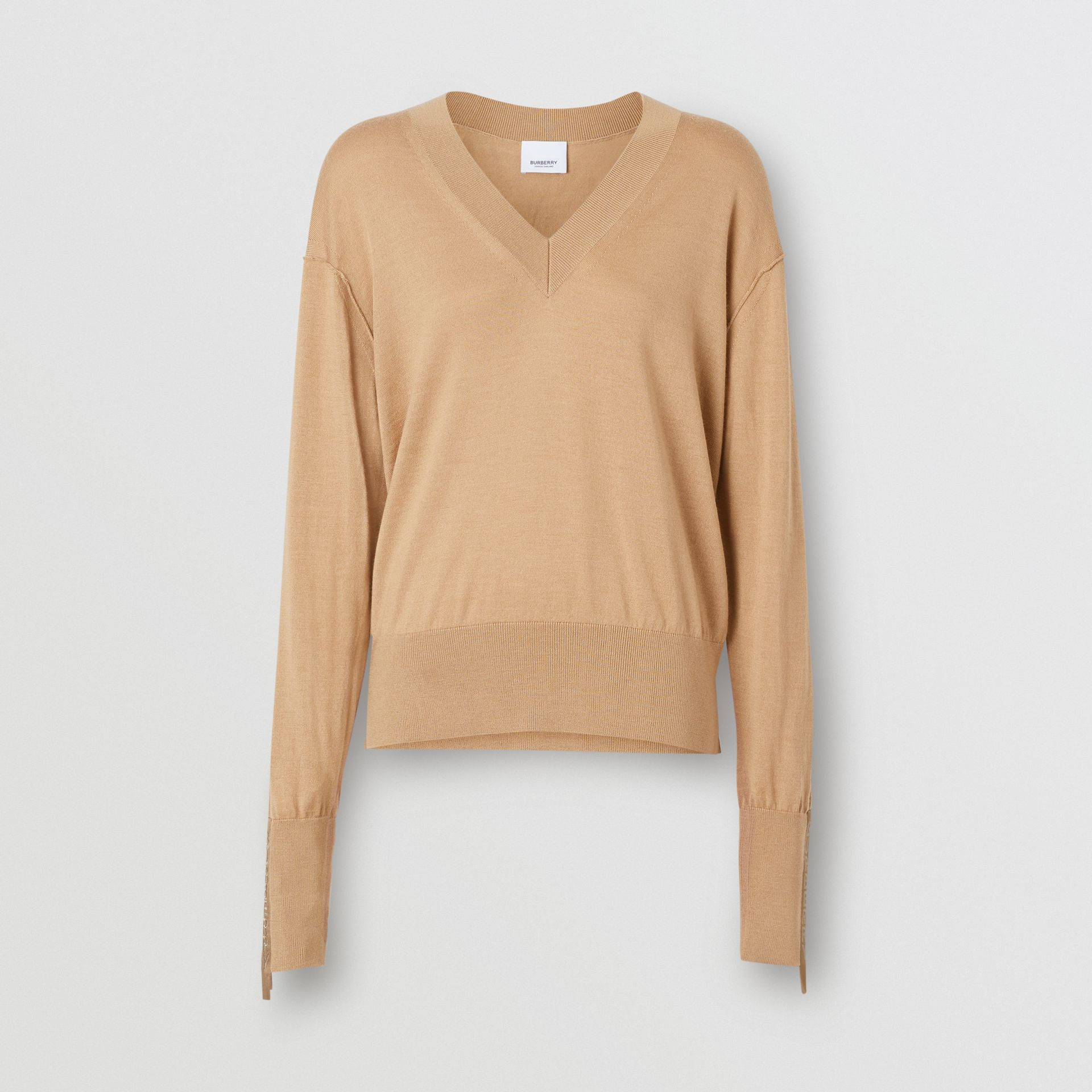 Logo Detail Merino Wool Silk Sweater in Biscuit - Women | Burberry - gallery image 3