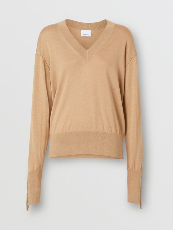 Logo Detail Merino Wool Silk Sweater in Biscuit - Women | Burberry Singapore - cell image 3