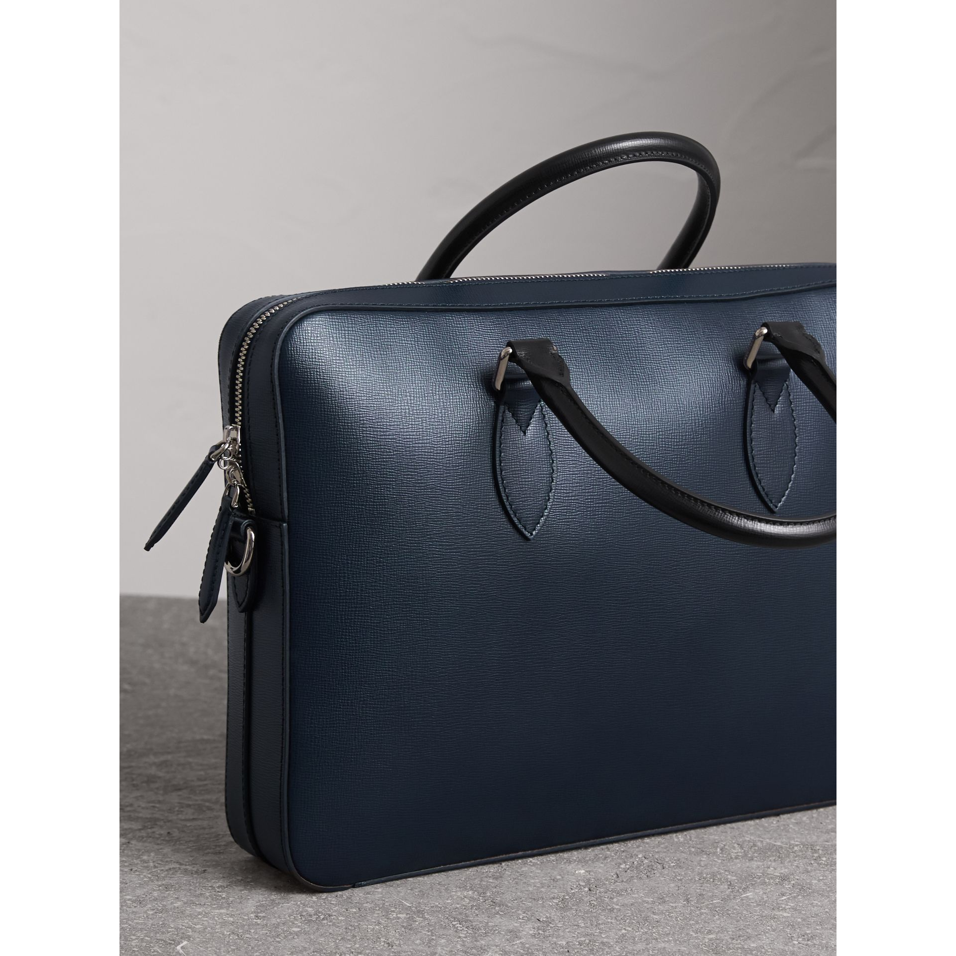 London Leather Briefcase in Dark Navy/black - Men | Burberry - gallery image 5