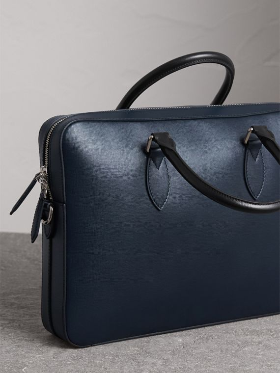 London Leather Briefcase in Dark Navy/black - Men | Burberry - cell image 2