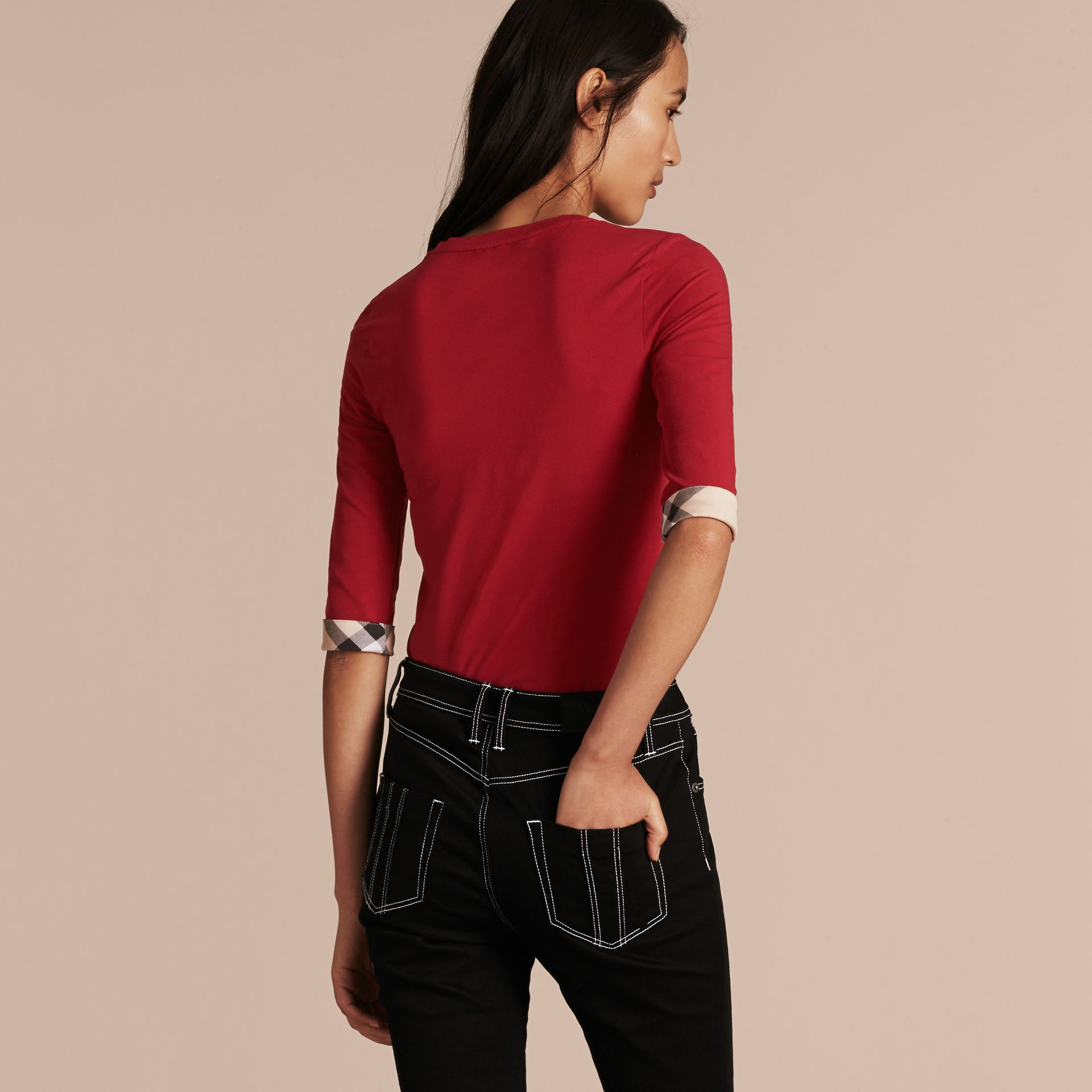 Check Cuff Stretch-Cotton Top in Lacquer Red - Women | Burberry - gallery image 3