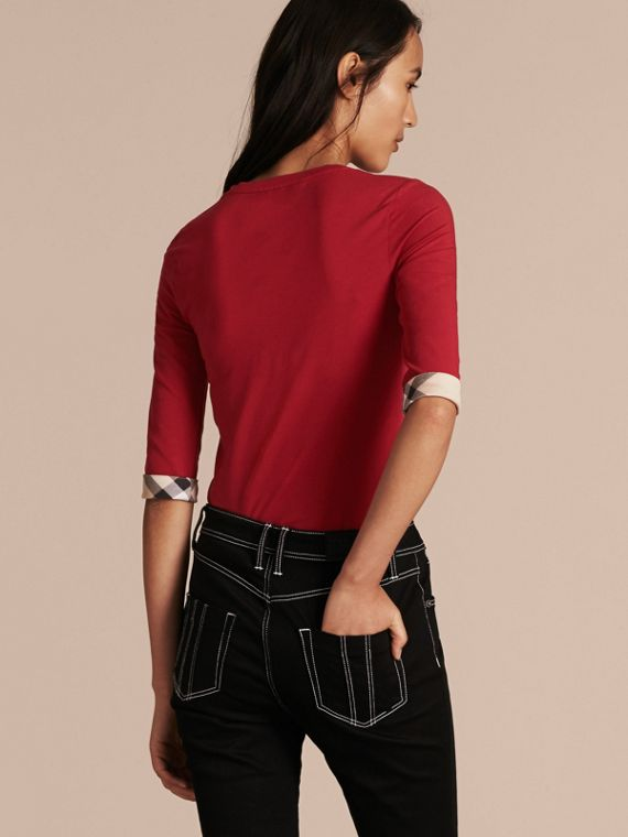 Check Cuff Stretch-Cotton Top in Lacquer Red - Women | Burberry Hong Kong - cell image 2