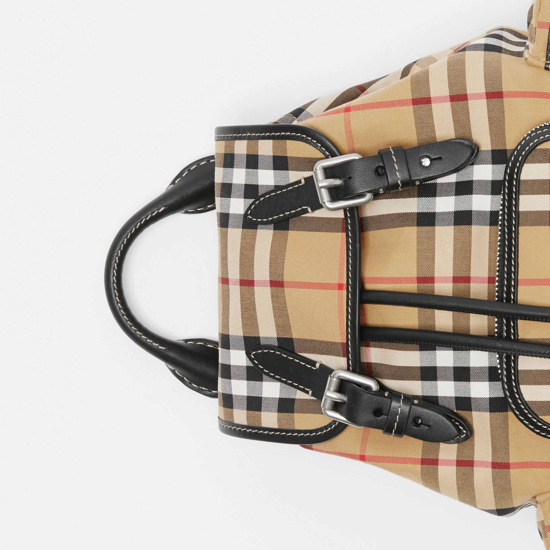 The Small Rucksack in Vintage Check and Leather in Antique Yellow - Women | Burberry - gallery image 1