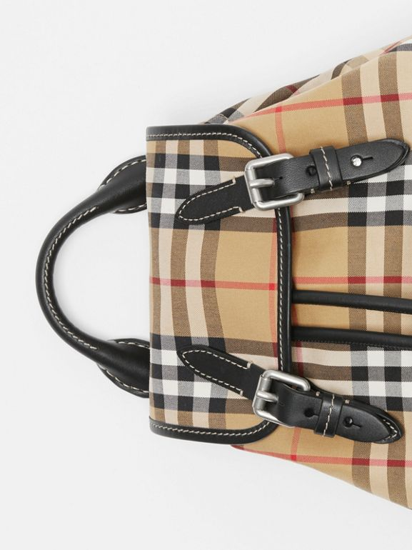 The Small Rucksack in Vintage Check and Leather in Antique Yellow - Women | Burberry - cell image 1