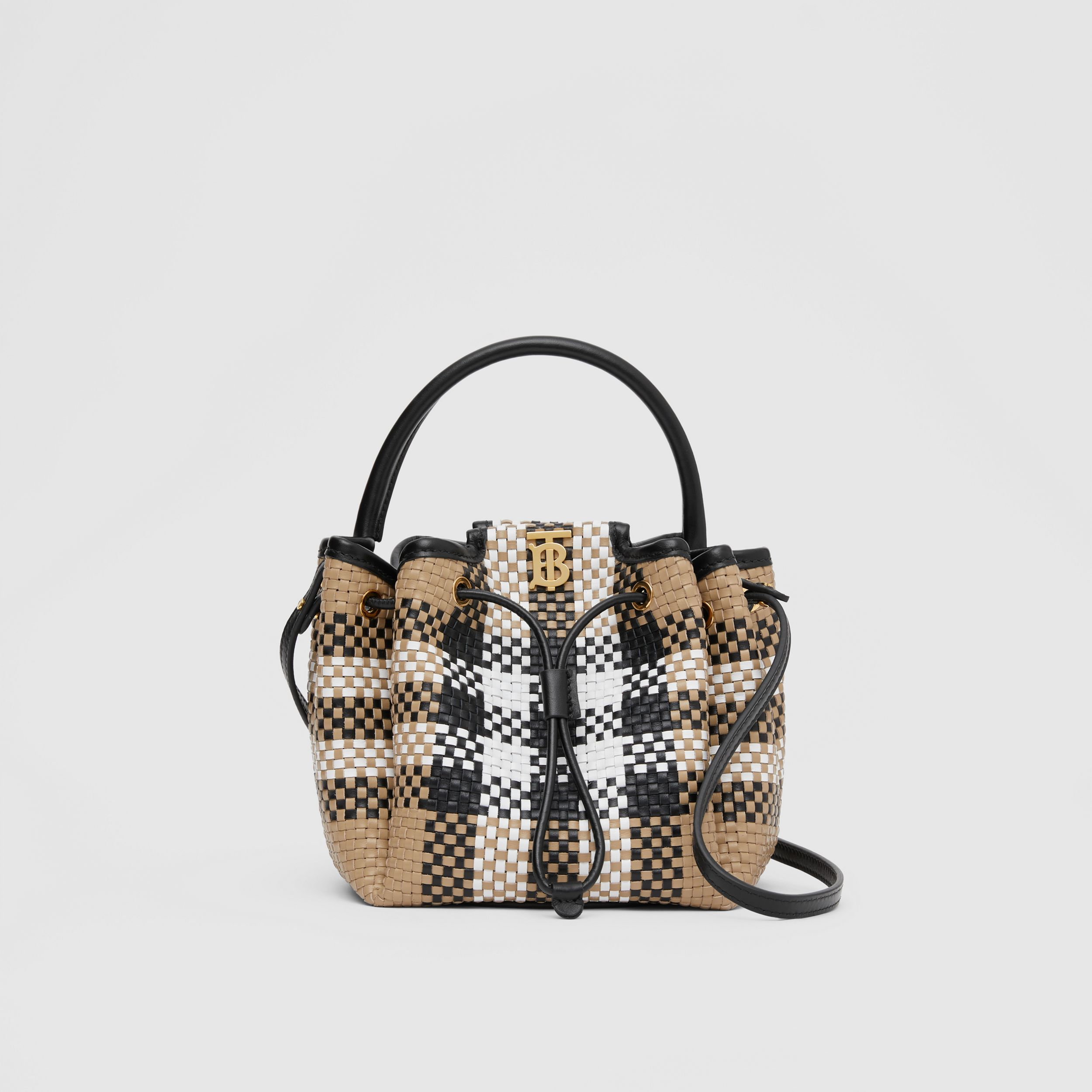 Monogram Motif Latticed Leather Bucket Bag in Archive Beige - Women | Burberry - 1