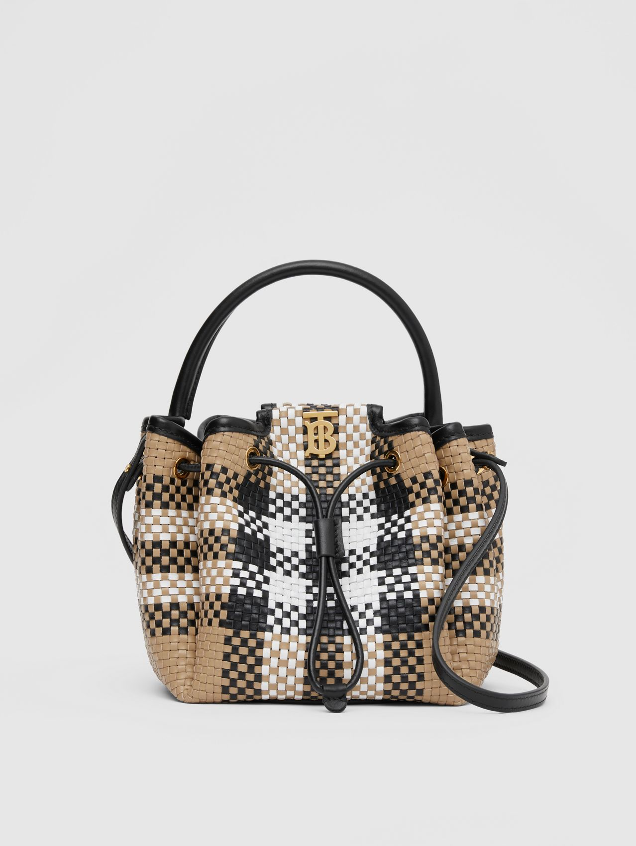 Monogram Motif Latticed Leather Bucket Bag in Archive Beige