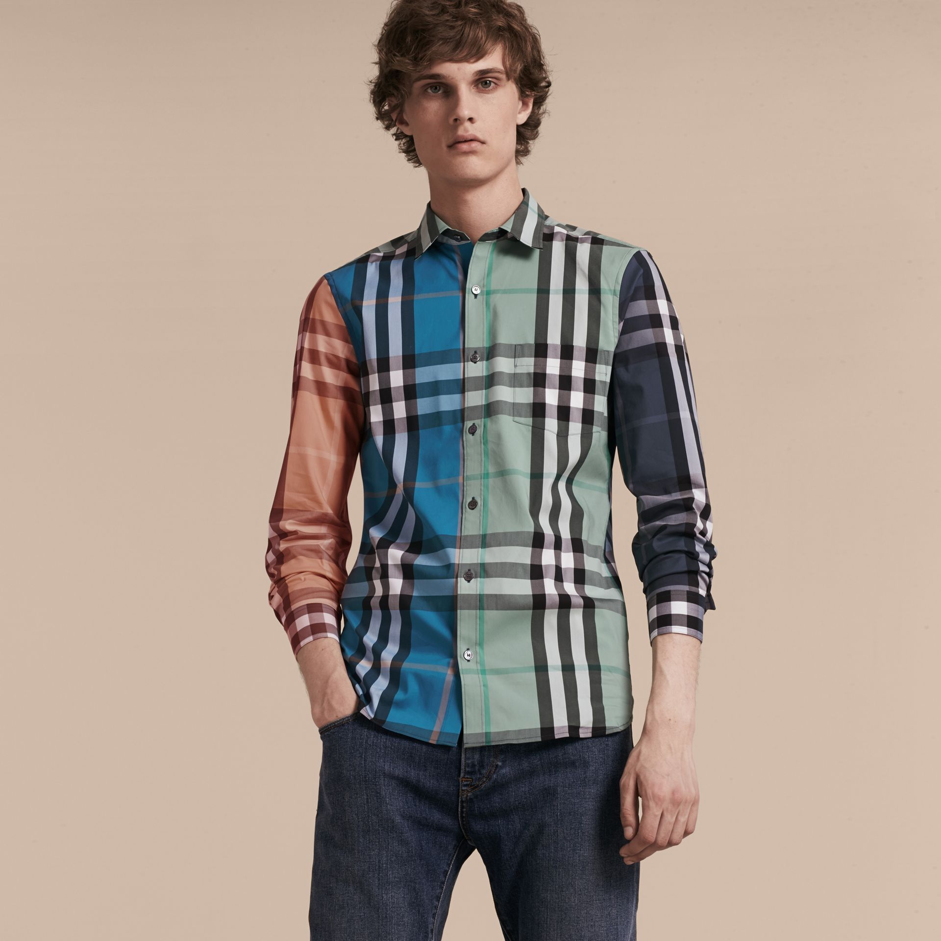 Cerulean blue Colour Block Check Cotton Blend Shirt Cerulean Blue - gallery image 6