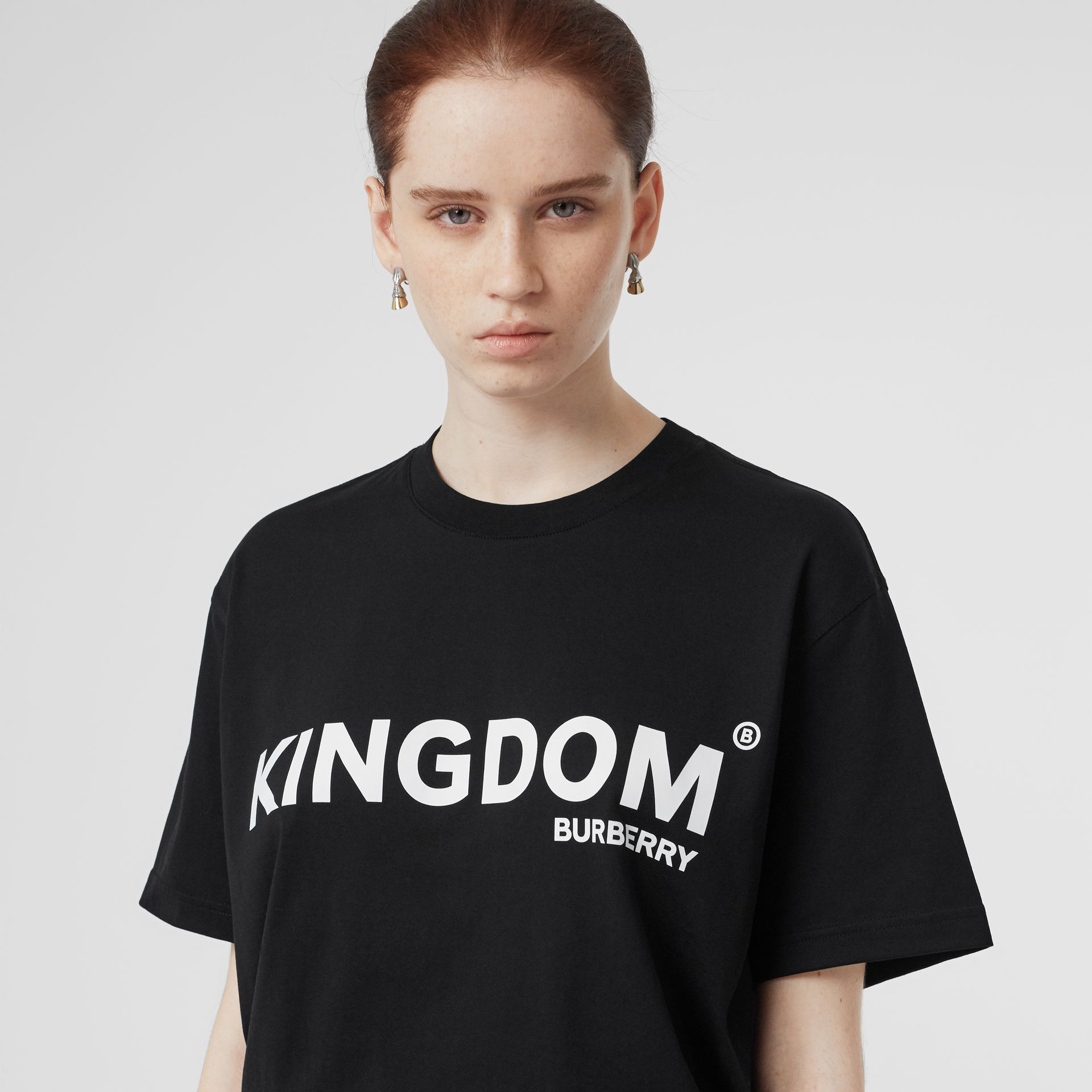 Kingdom Print Cotton Oversized T-shirt in Black - Women | Burberry Canada - gallery image 1