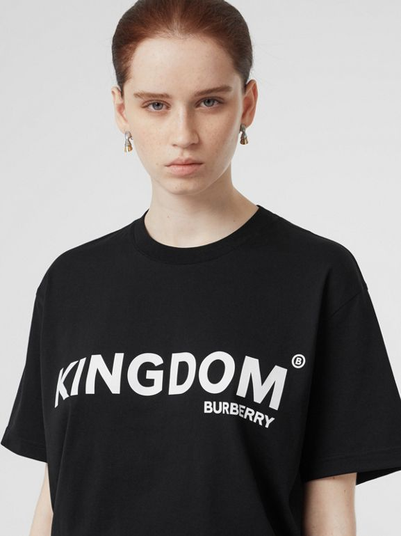 Kingdom Print Cotton Oversized T-shirt in Black - Women | Burberry United States - cell image 1