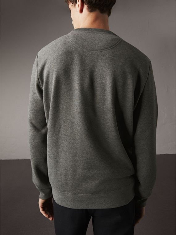 Beasts Appliqué Cotton Sweatshirt in Mid Grey Melange - Men | Burberry - cell image 2