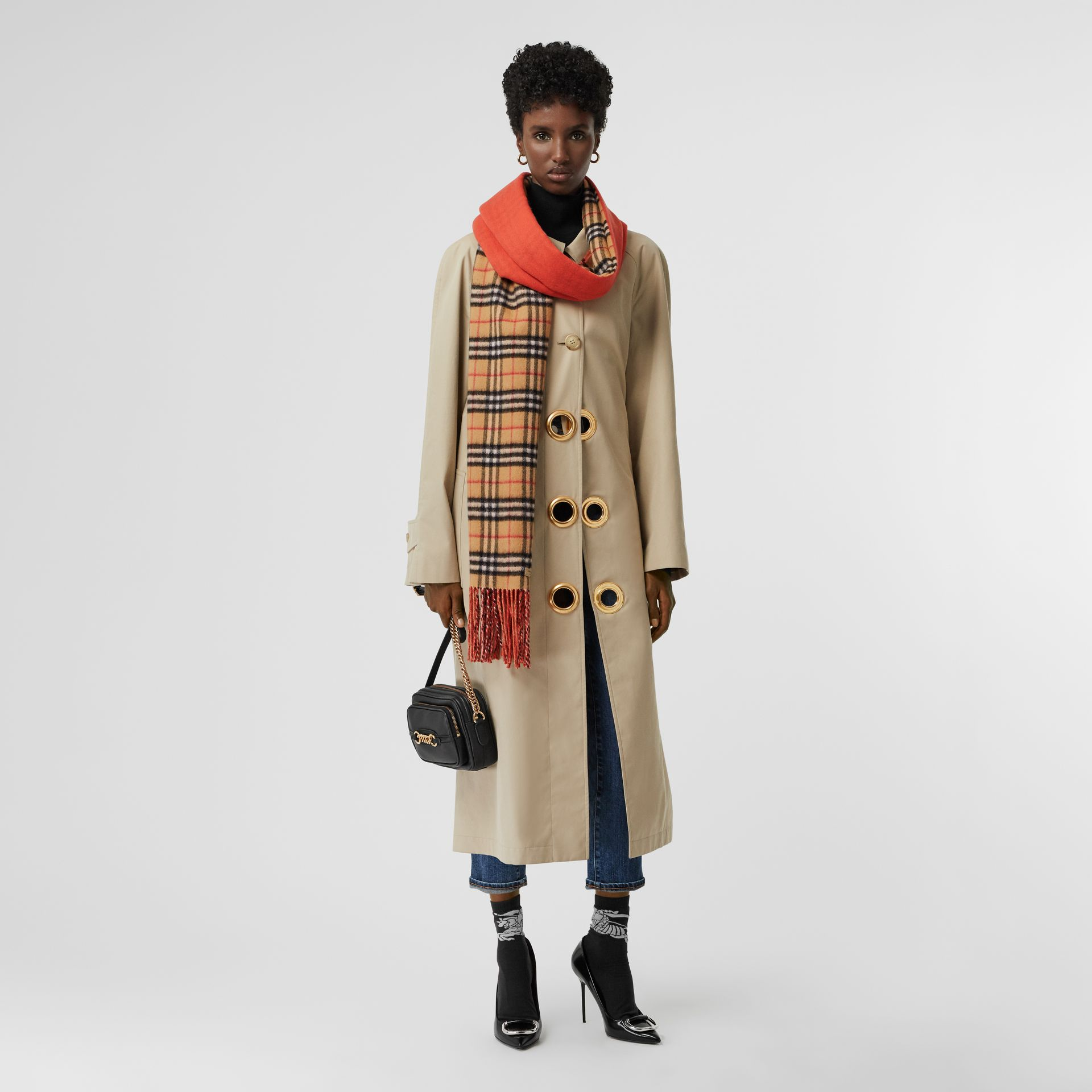 Colour Block Vintage Check Cashmere Scarf in Vibrant Orange | Burberry - gallery image 2