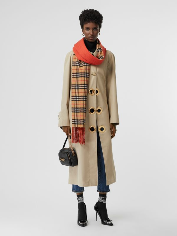 Colour Block Vintage Check Cashmere Scarf in Vibrant Orange | Burberry United Kingdom - cell image 2