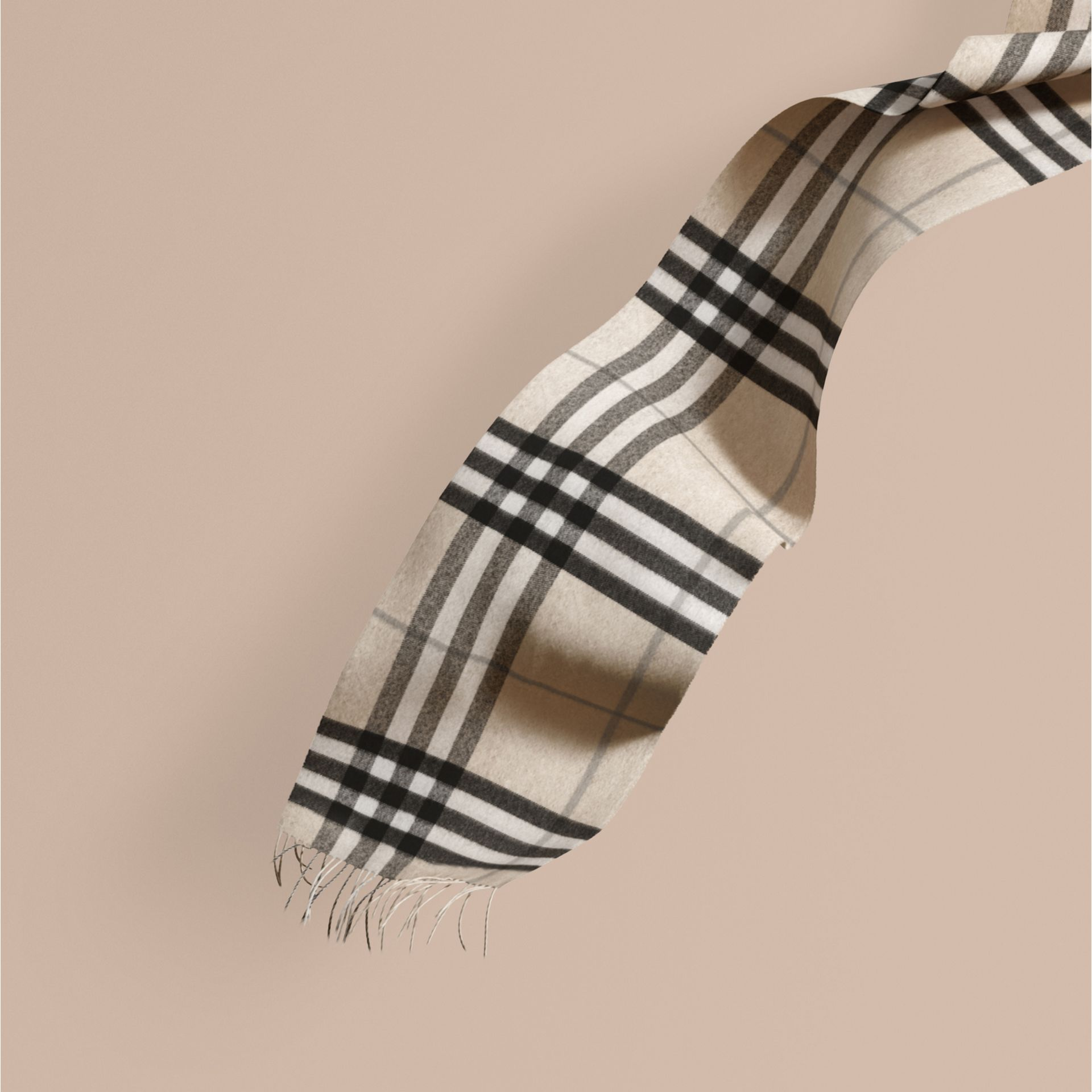 Natural white check The Classic Cashmere Scarf in Check Natural White - gallery image 1