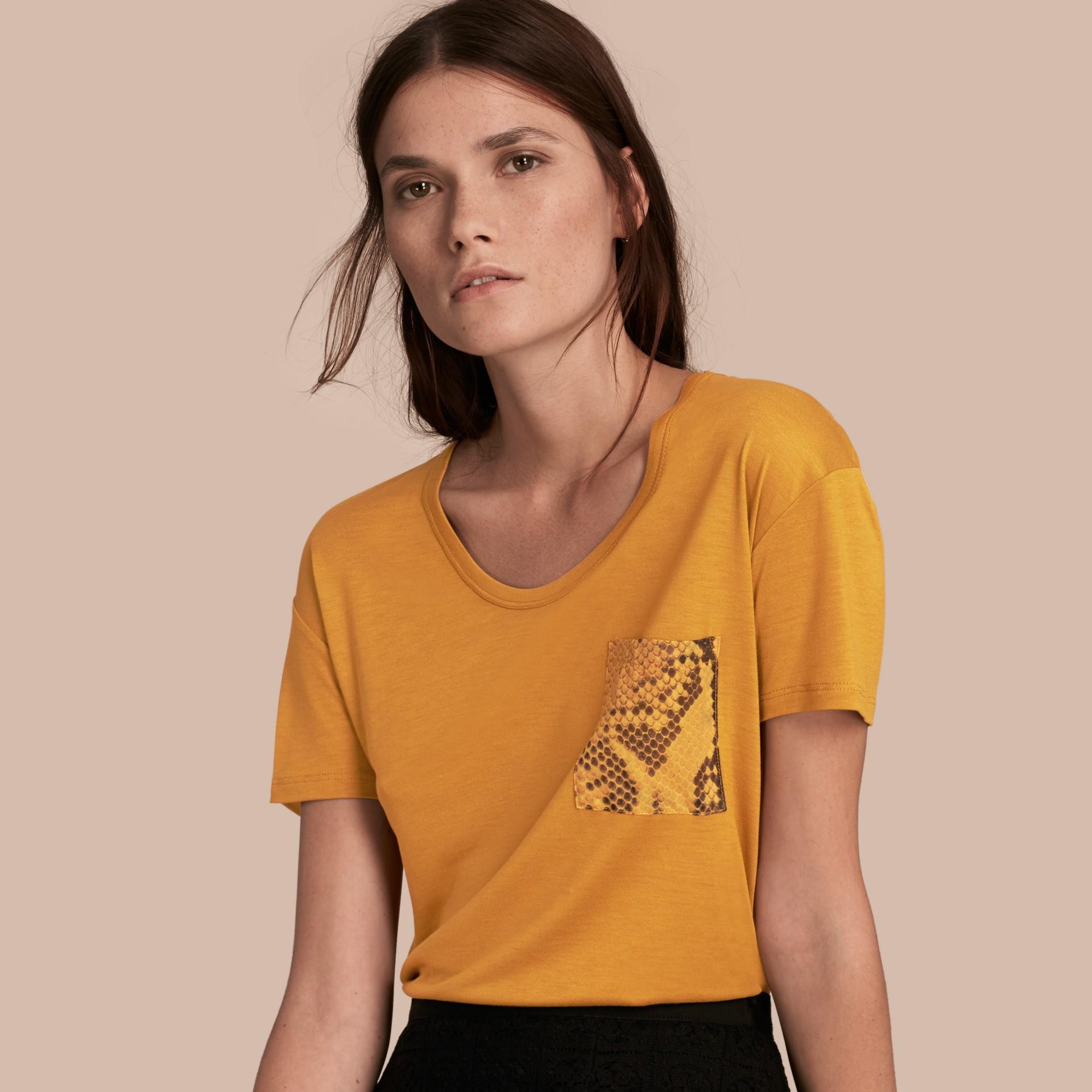 Amber Python Print Detail T-Shirt Amber - gallery image 1