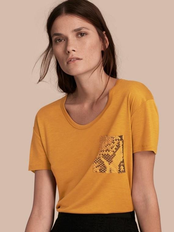 Python Print Detail T-Shirt Amber
