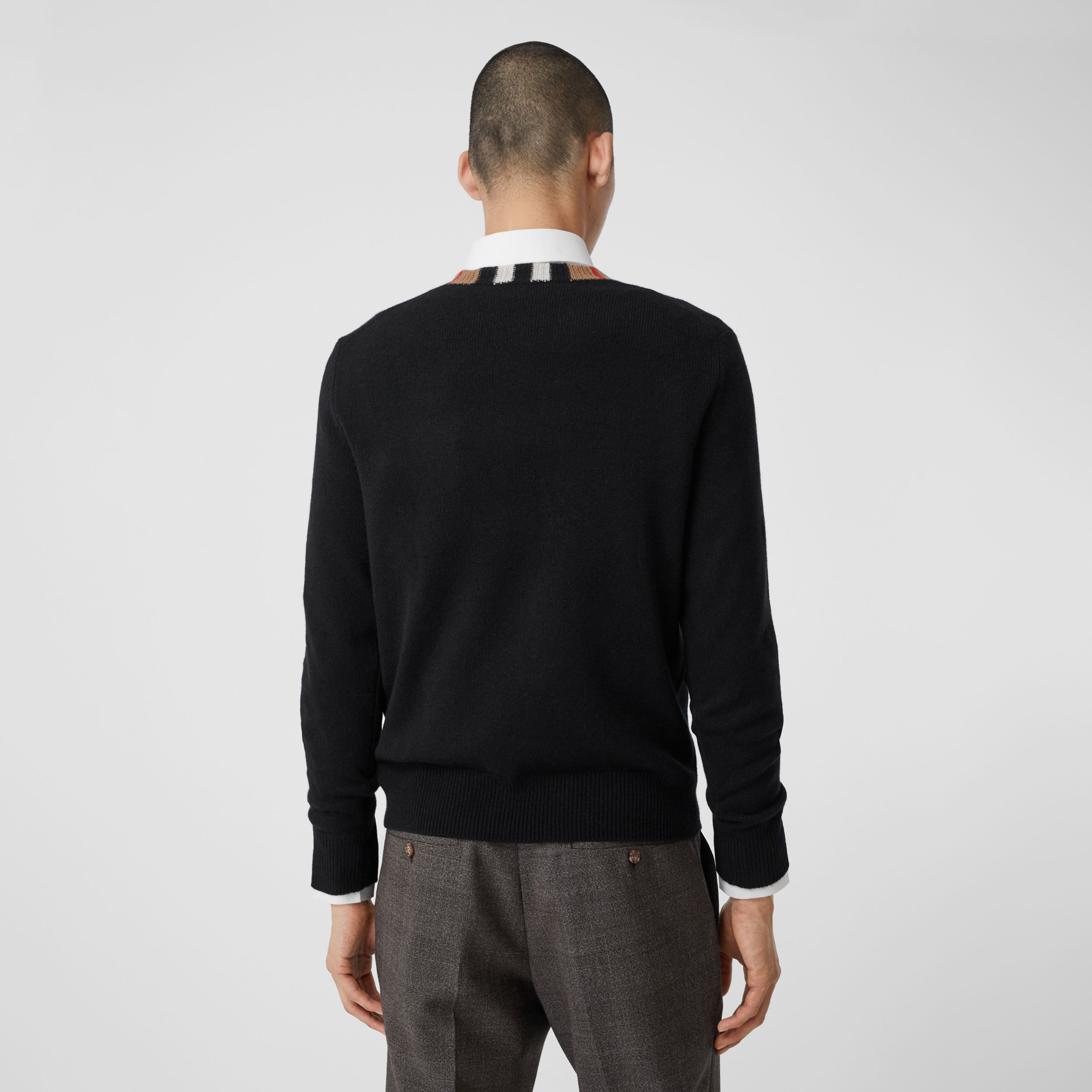 Icon Stripe Trim Cashmere Sweater in Black - Men | Burberry - 3