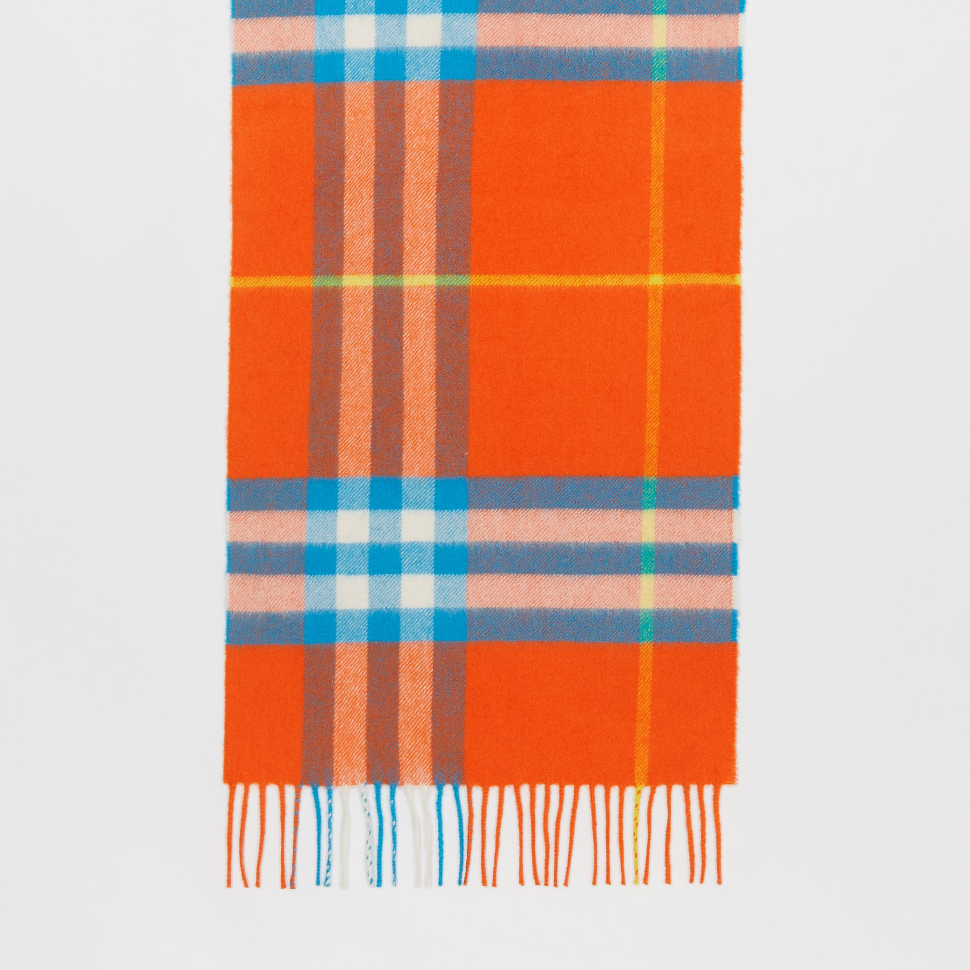 The Classic Check Cashmere Scarf in Bright Vermillion | Burberry United States - gallery image 3