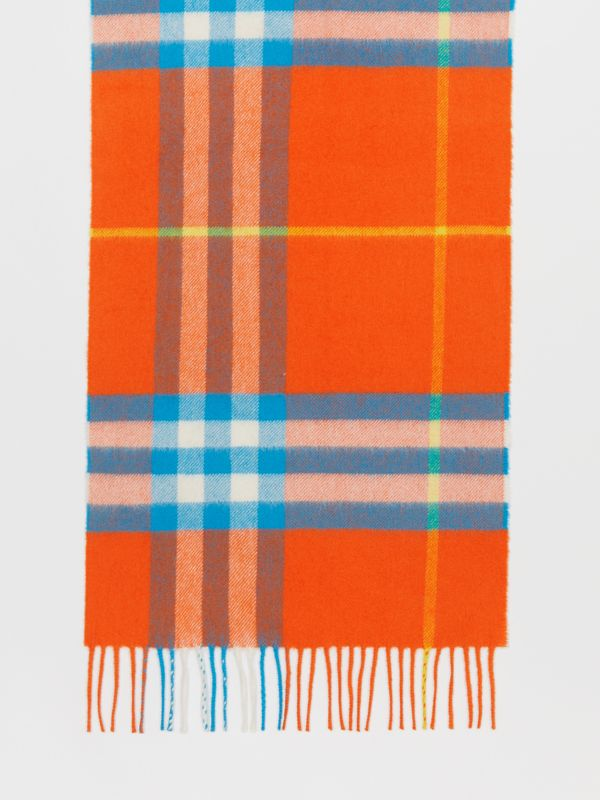 The Classic Check Cashmere Scarf in Bright Vermillion | Burberry United States - cell image 3