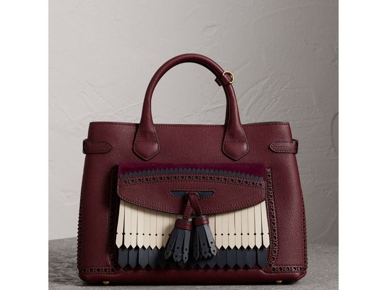 The Medium Banner in Leather with Fringed Pocket in Mahogany Red - Women | Burberry - cell image 4