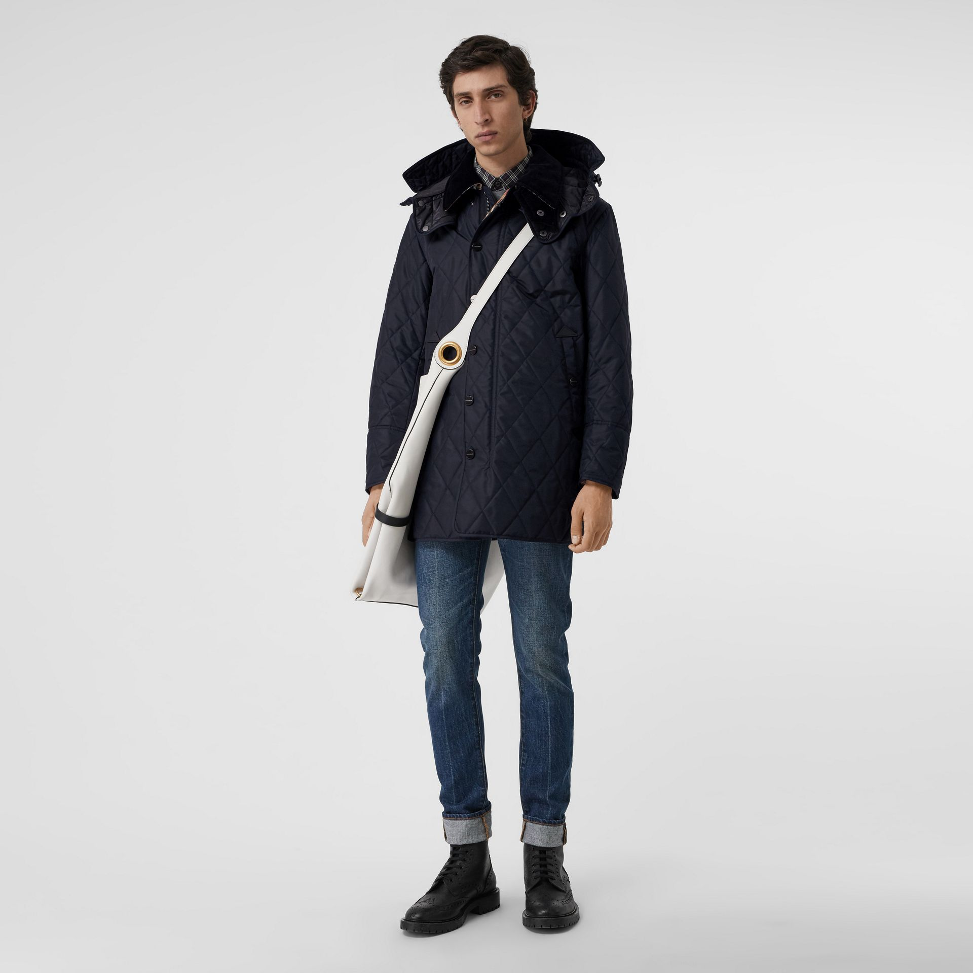 Detachable Hood Diamond Quilted Barn Jacket in Navy - Men | Burberry - gallery image 0