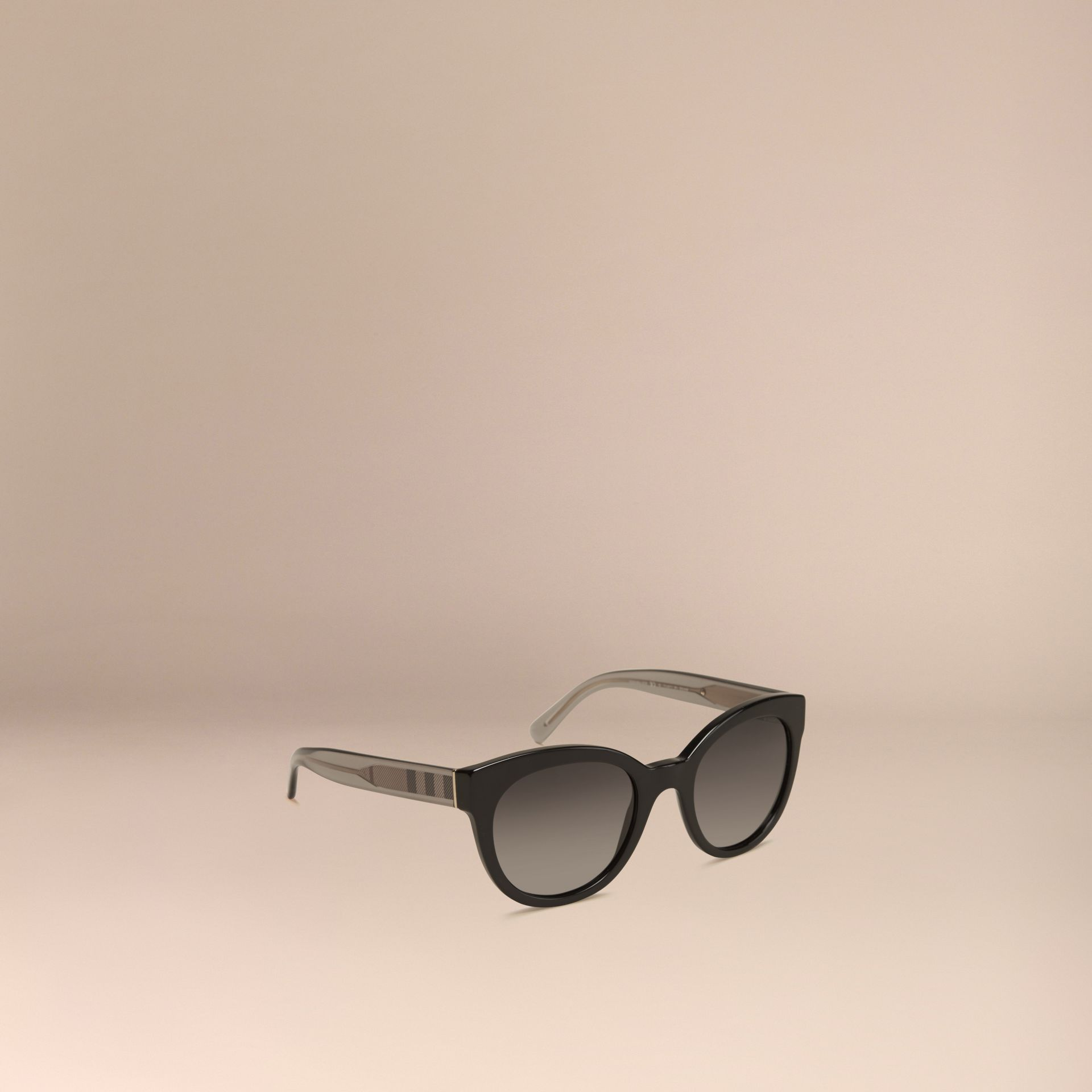 Black Check Detail Oval Polarised Sunglasses - gallery image 1