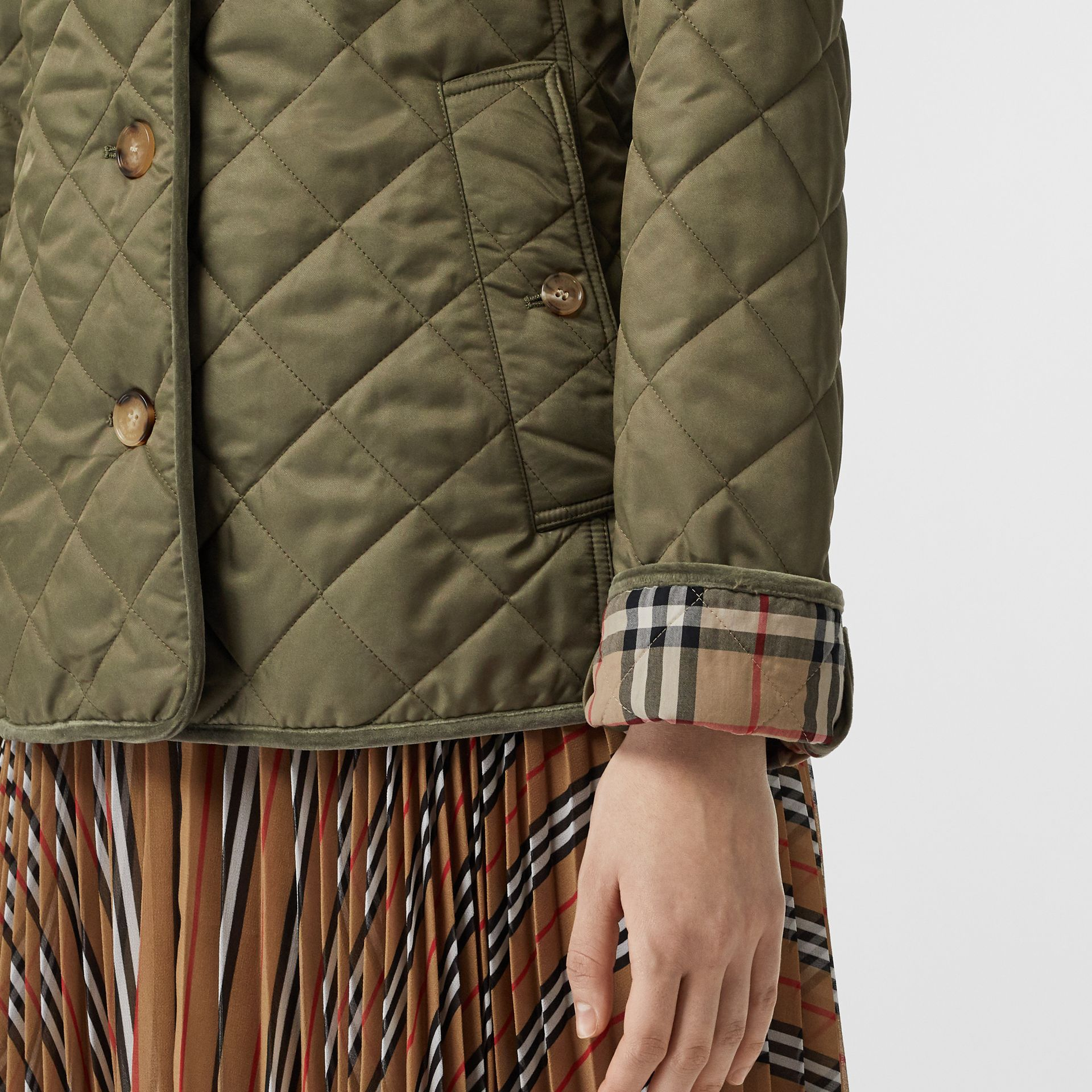 Monogram Motif Diamond Quilted Jacket in Olive Green - Women | Burberry - gallery image 2