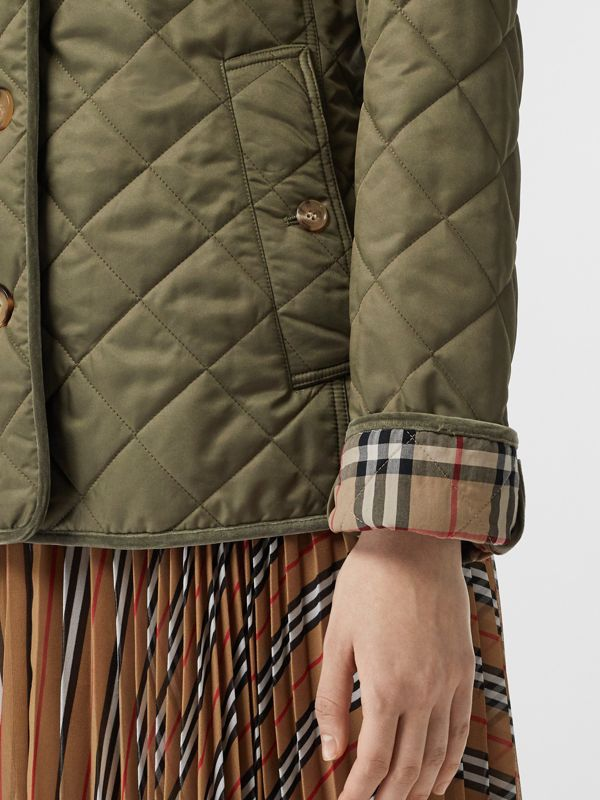 Monogram Motif Diamond Quilted Jacket in Olive Green - Women | Burberry - cell image 2