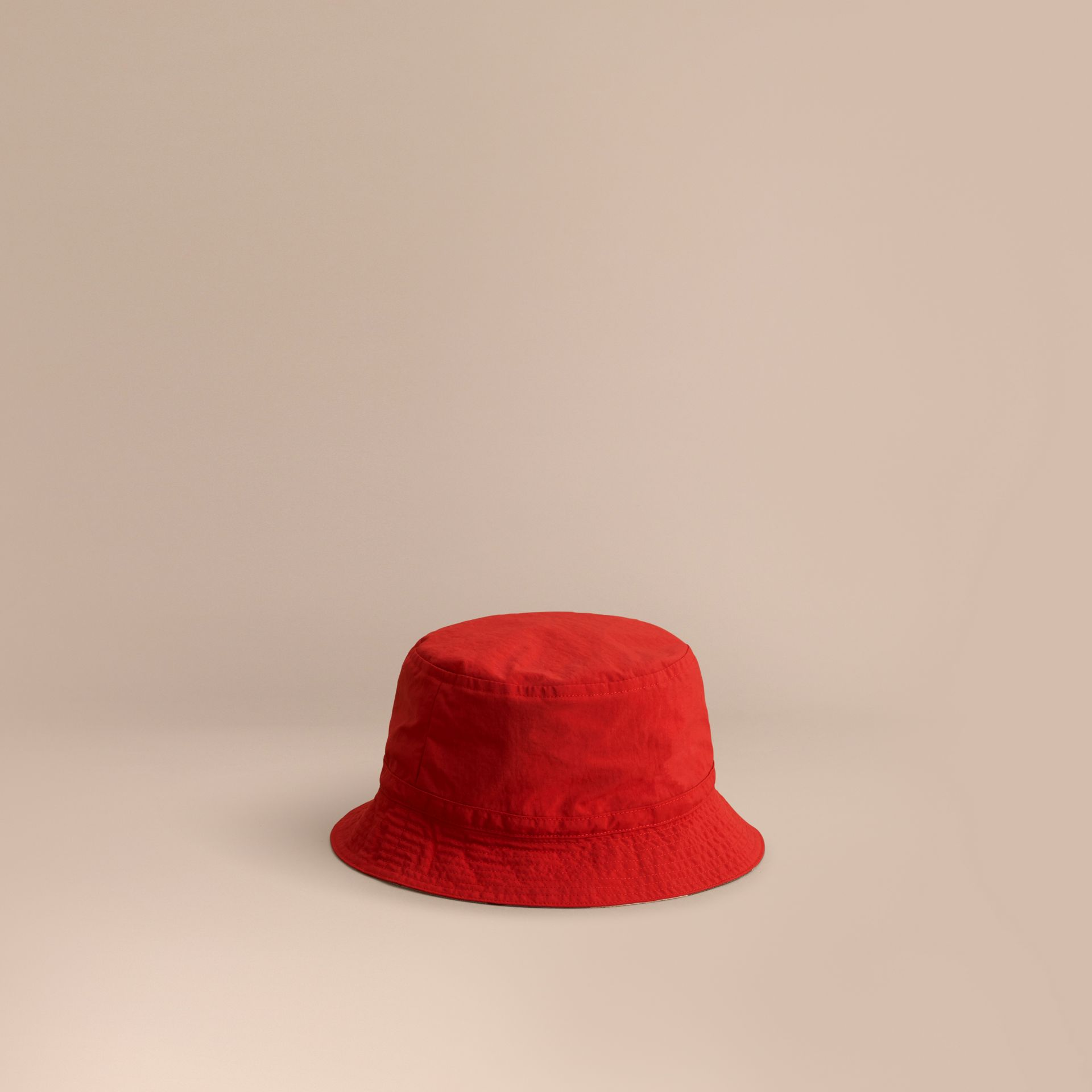 Check Detail Bucket Hat in Military Red | Burberry Australia - gallery image 0