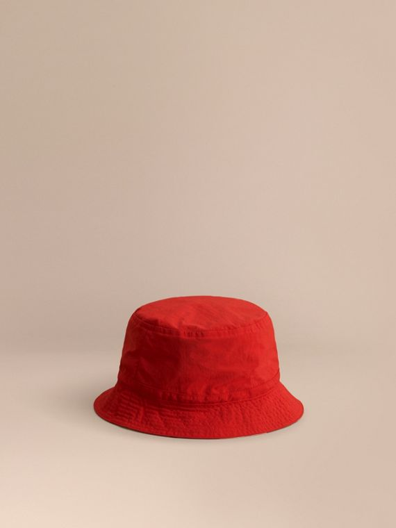 Check Detail Bucket Hat in Military Red