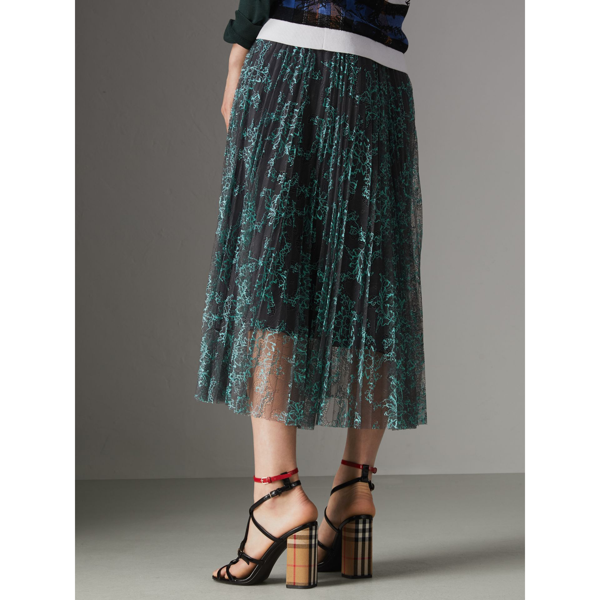 Pleated Lace Skirt in Bright Blue/taupe - Women | Burberry Singapore - gallery image 2