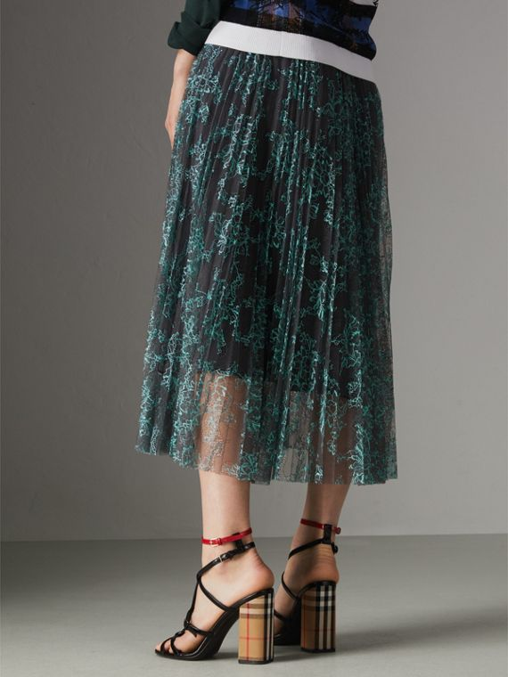 Pleated Lace Skirt in Bright Blue/taupe - Women | Burberry Singapore - cell image 2