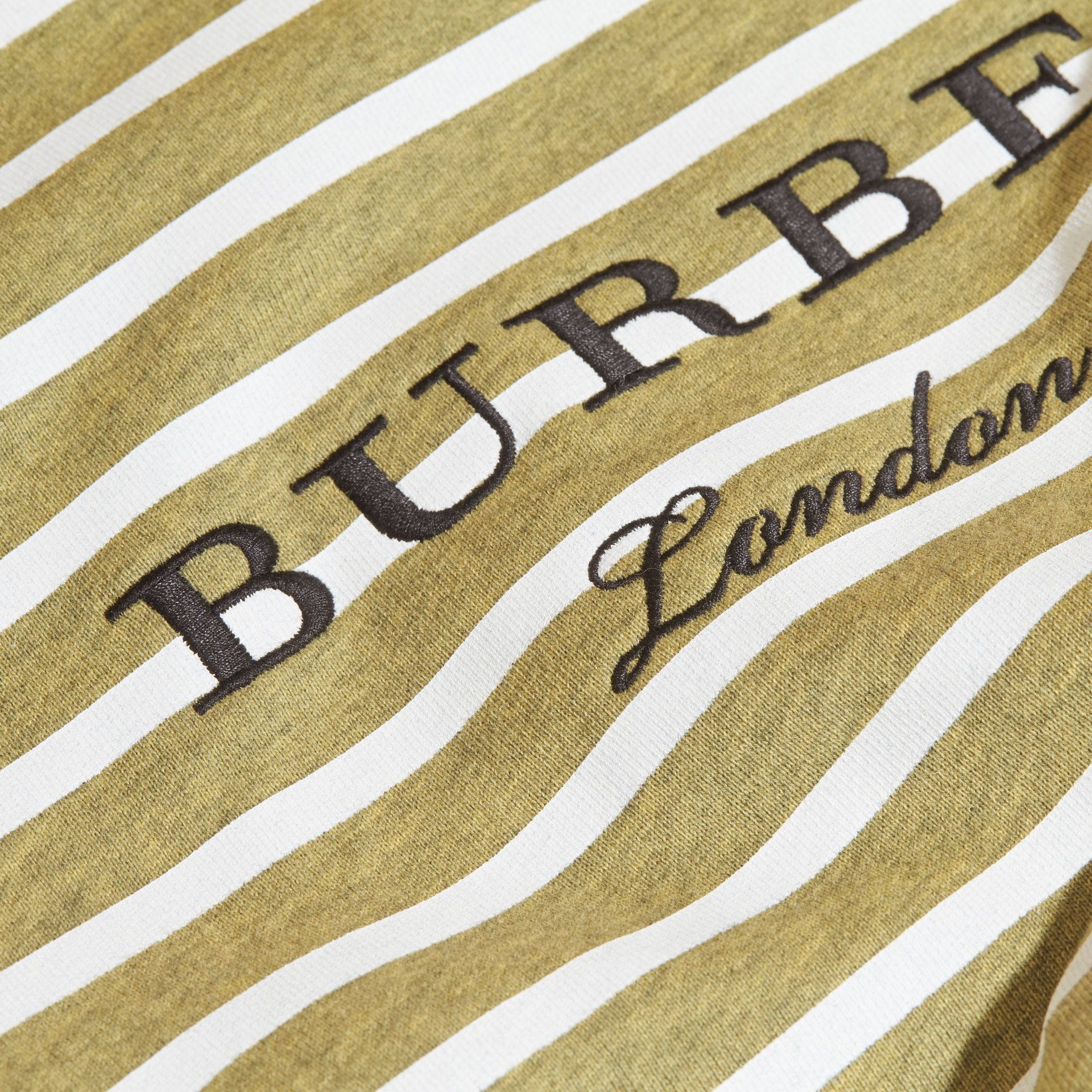 Striped Cotton Sweatshirt in Gorse Yellow Melange - Girl | Burberry - gallery image 2