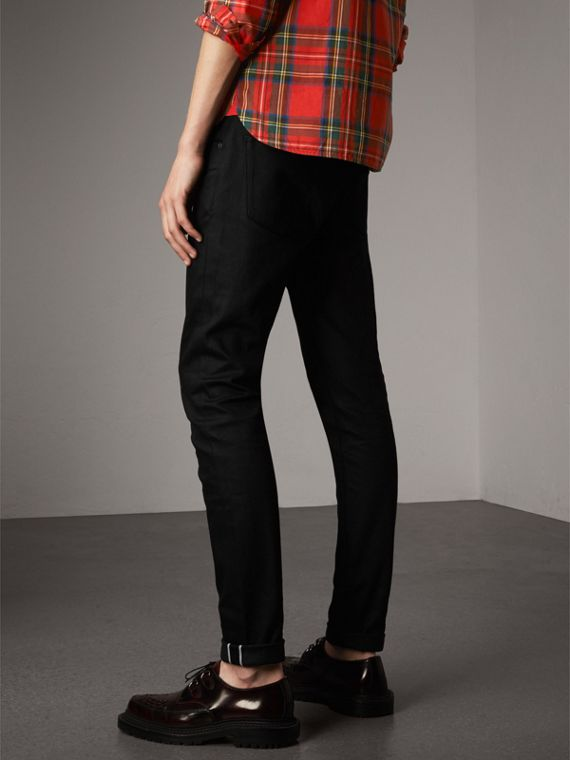 Skinny Fit Brushed Stretch Denim Jeans in Black - Men | Burberry - cell image 2