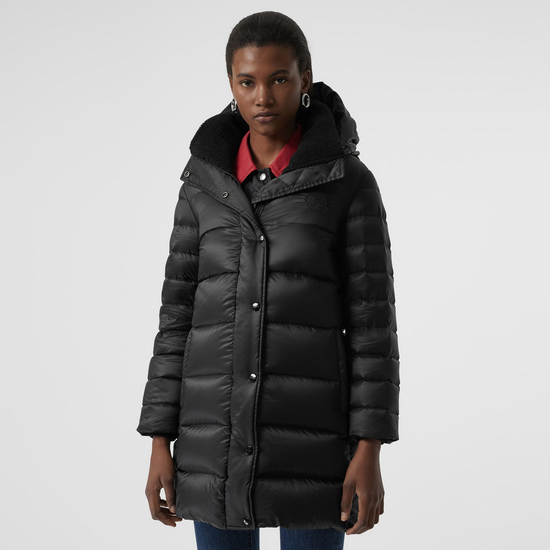 Down-filled Hooded Puffer Coat in Black - Women | Burberry Canada - gallery image 6
