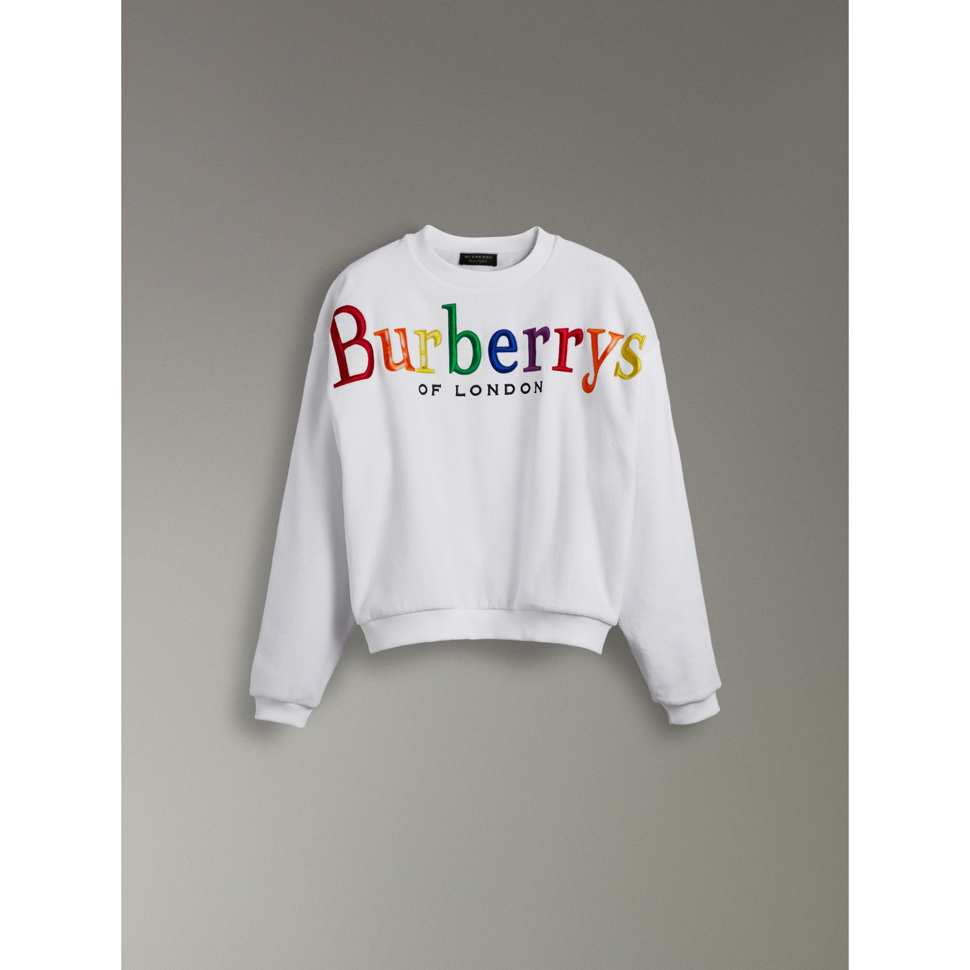 Archive Logo Towelling Sweatshirt in White | Burberry Australia - gallery image 3