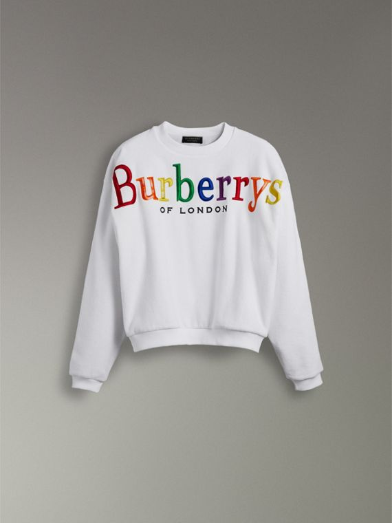 Archive Logo Towelling Sweatshirt in White | Burberry Australia - cell image 3