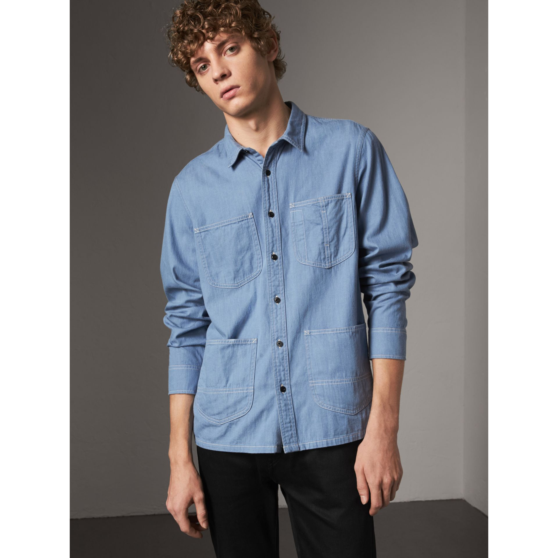 Japanese Denim Work Shirt in Light Blue - Men | Burberry - gallery image 0