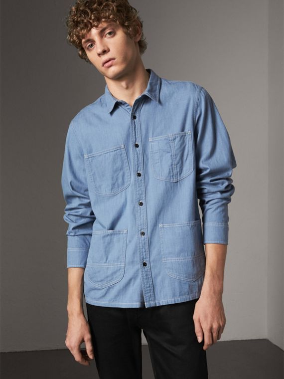 Japanese Denim Work Shirt in Light Blue