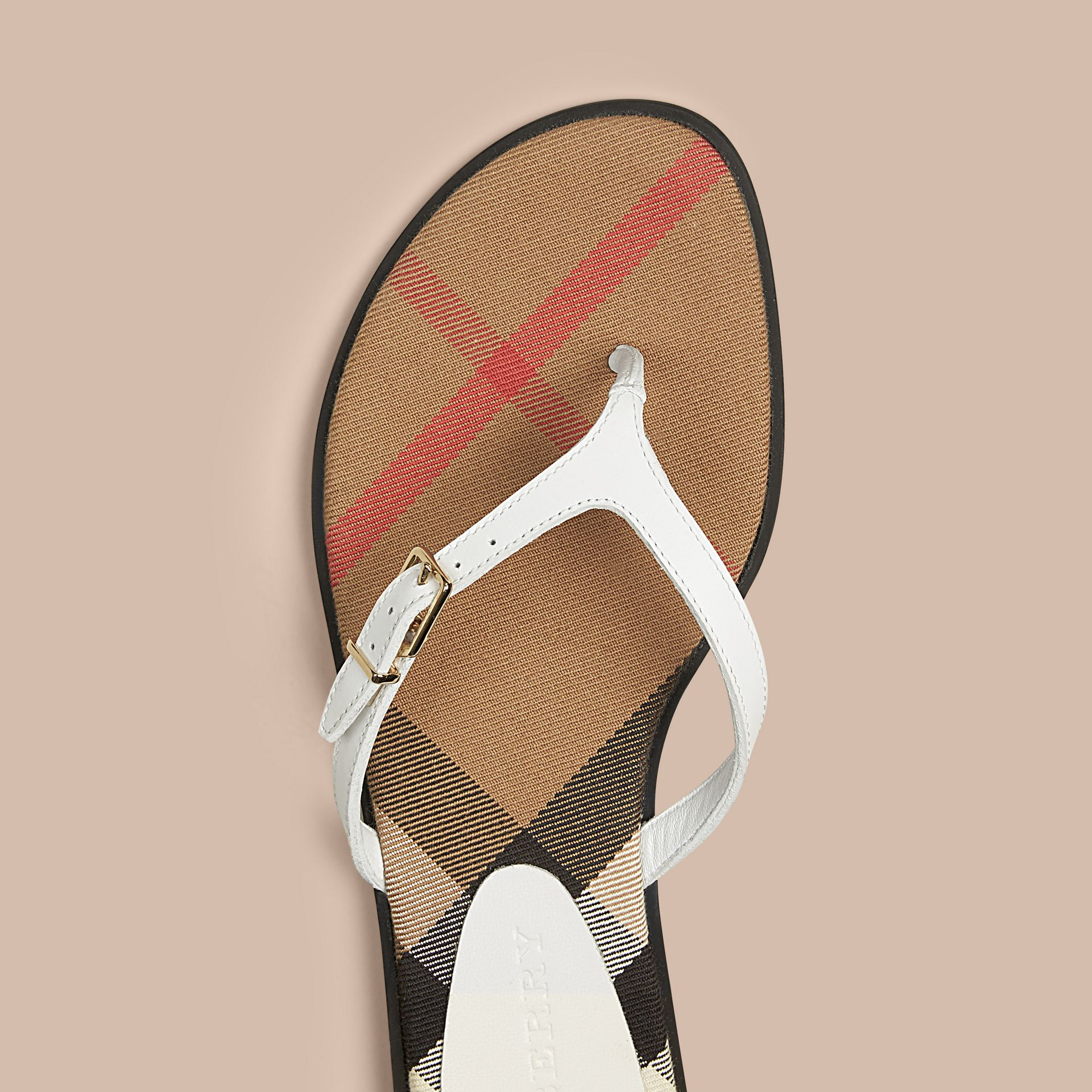 House Check and Leather Sandals in Optic White - Women | Burberry - gallery image 2
