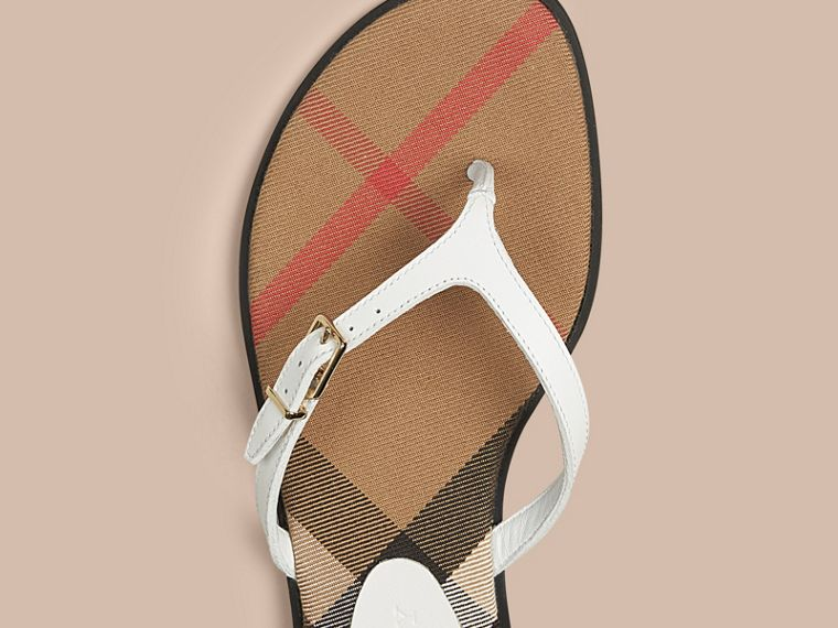 House Check and Leather Sandals in Optic White - Women | Burberry - cell image 1