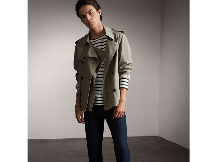 Unisex Tropical Gabardine Trench Jacket in Slate Green - Women | Burberry - cell image 1
