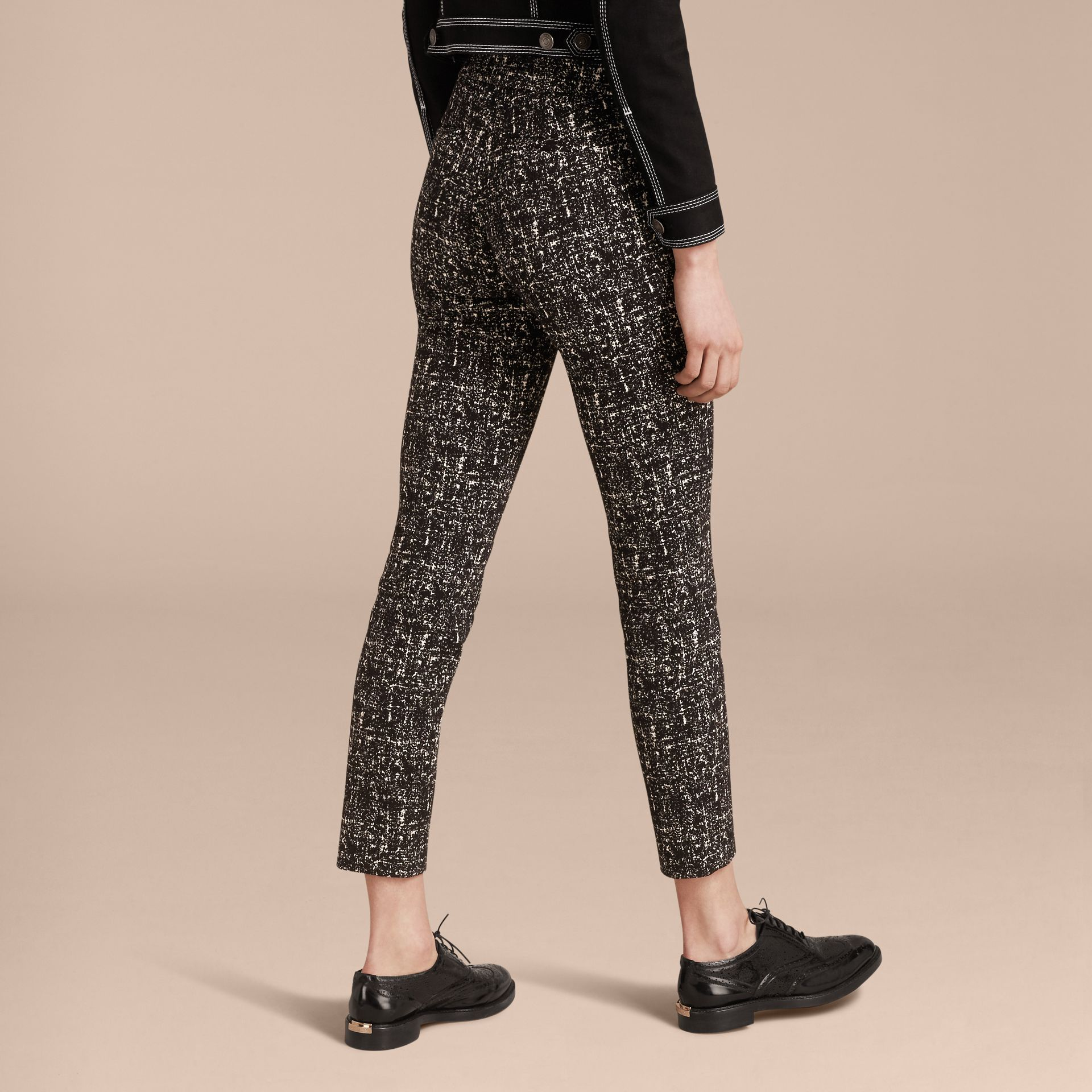 Black / white Abstract Check Wool Cotton Trousers - gallery image 3